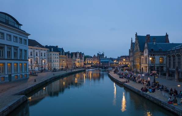 Picture the sky, bridge, people, home, the evening, channel, Belgium, promenade, Flanders, Ghent