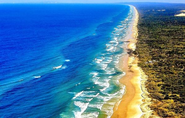 Picture sand, sea, wave, shore, vegetation, Australia, QLD, Fraser island