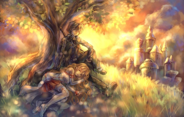 Picture castle, tree, sword, hill, art, pair, girl, guy, sword art online, yuuki asuna, tandolcedeco, kirigaya …