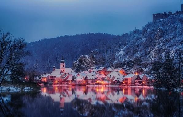 Picture winter, landscape, reflection, river, building, mountain, Germany, Bayern, Germany, Bavaria, Kallmünz, river Neb, Naab River, …