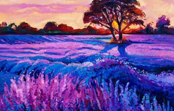 Picture the sky, trees, sunset, flowers, nature, beauty, painting