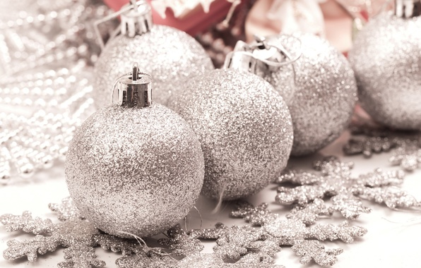 Picture snowflakes, holiday, new year, silver, new year, silver, Christmas balls, silver