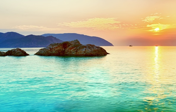 Picture sea, the sky, water, the sun, landscape, sunset, rock, island, Panorama, horizon, turquoise