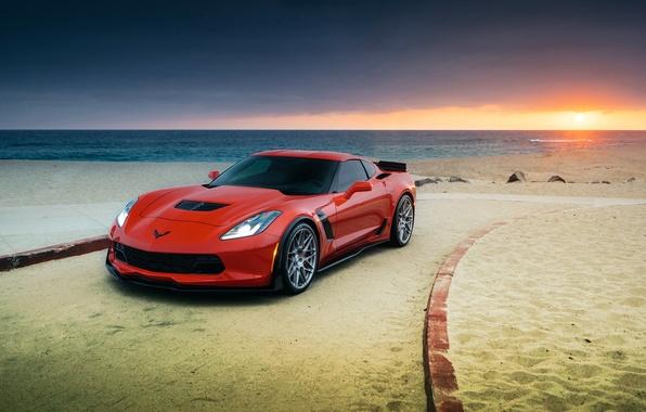 Picture car, beach, Z06, Corvette, Chevrolet, red, promenade
