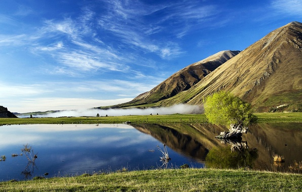 Picture NATURE, GRASS, HORIZON, The SKY, CLOUDS, REFLECTION, SPRING, MEADOW, SLOPE, GREEN, DAL, LAKE, SURFACE, PONDS, …