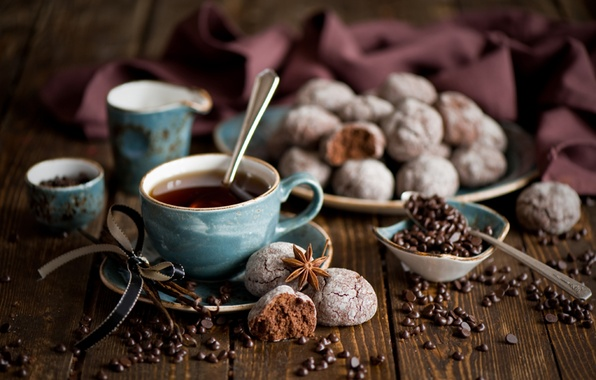 Picture table, tea, food, cookies, tape, sweets, drinks, food, drink, sweets, tea, ribbon, star anise, Anis, …