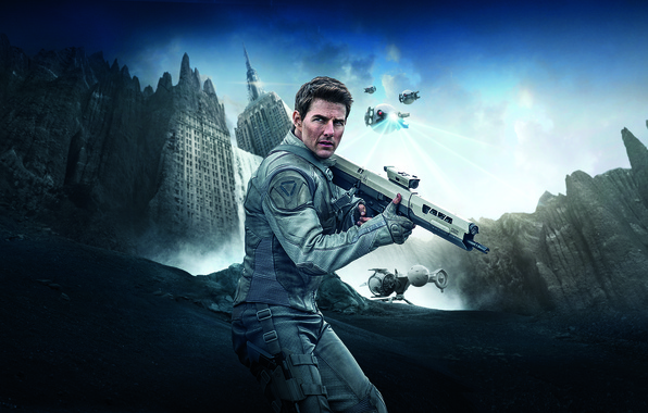 Picture rock, Sky, Oblivion, Robot, Water, White, Men, The, Waterfall, Flying, Building, Modern, Tom Cruise, Weapons, …