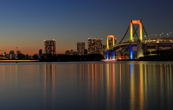 Picture bridge, the city, reflection, Japan, Tokyo, panorama, Tokyo, Japan, Rainbow Bridge