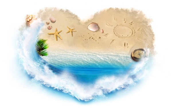 Picture sand, sea, water, squirt, creative, heart, shell, compass, starfish