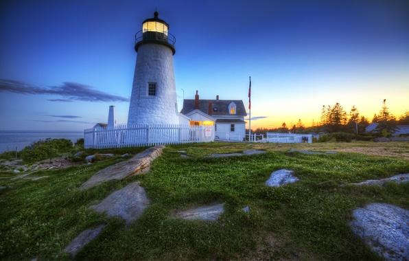 Picture grass, light, sunset, green, rocks, lighthouse, lighthouse