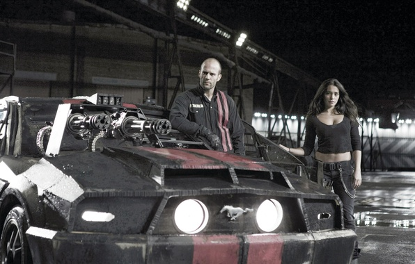 Picture girl, man, actors, Jason Statham, Jason Statham, Natalie Martinez, Natalie Martinez, Death Race, Death race