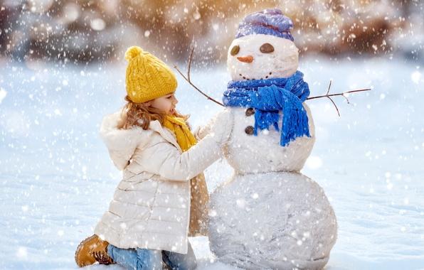 Picture Winter, Snow, Children, Girl, New year, Jacket, Snowman, Caps