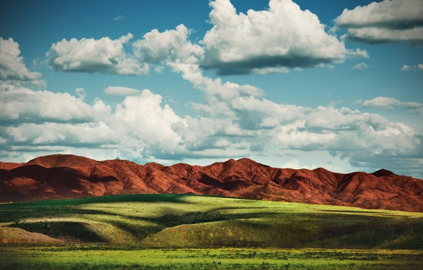 Picture field, the sky, grass, clouds, mountains