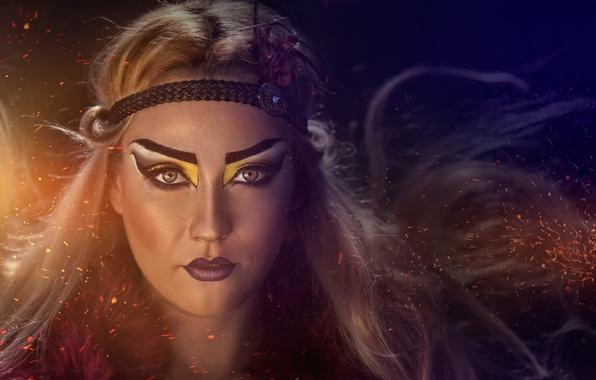 Picture portrait, makeup, coloring, Pocahontas