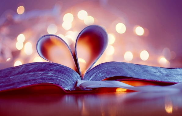 Picture heart, book, heart, page, bokeh, bookmark