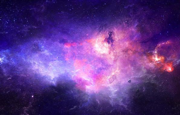 Picture space, stars, nebula, planet, art