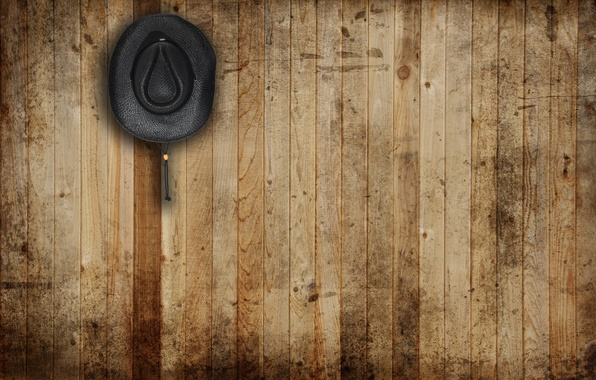 Picture wall, hat, wood, leather