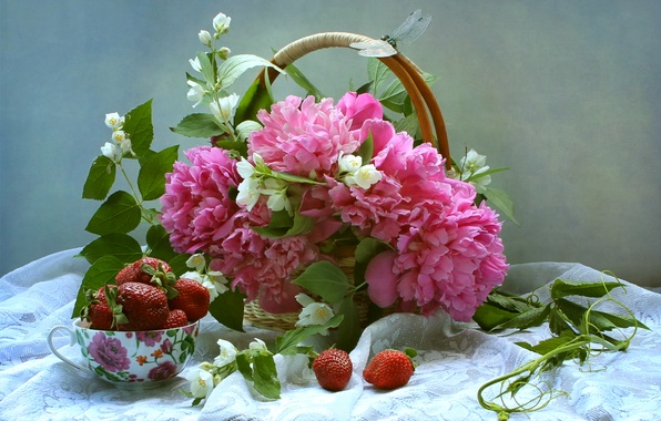 Picture berries, basket, bouquet, dragonfly, strawberry, still life, peonies, Jasmine