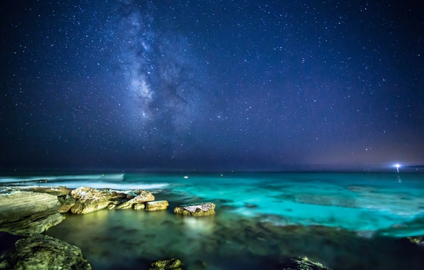 Picture sea, the sky, stars, night, stones, the milky way