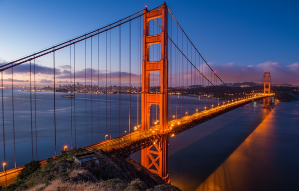 Picture the city, lights, Bridge, excerpt, CA, San Francisco, Golden gate, USA, USA, Golden Gate Bridge, …