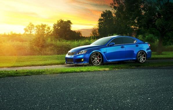 Picture Lexus, Blik, blue, sun, profile, IS F