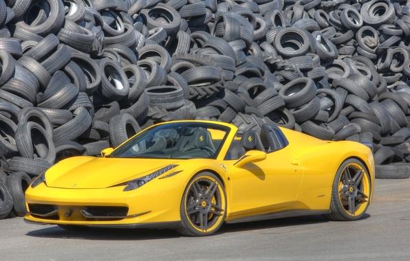 Picture yellow, background, Ferrari, Italy, Ferrari, supercar, 458, Italia, Spider, the front.tires, Novitec Rosso