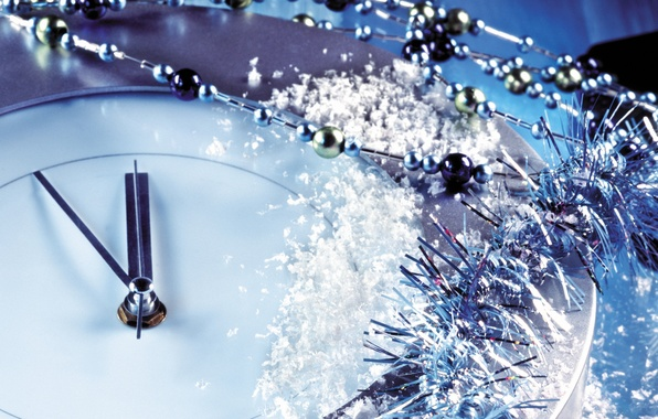 Picture macro, decoration, situation, watch, beads, tinsel, New Year, midnight, Christmas, snow, five, 23:55, situation