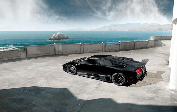 Picture Lamborghini, Black, Murcielago, LP670-4, Sea, Supercar, Rear