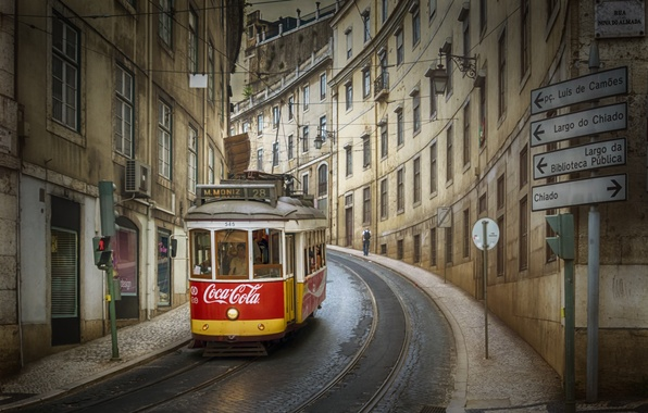 Picture the city, street, tram, Portugal, Lisbon