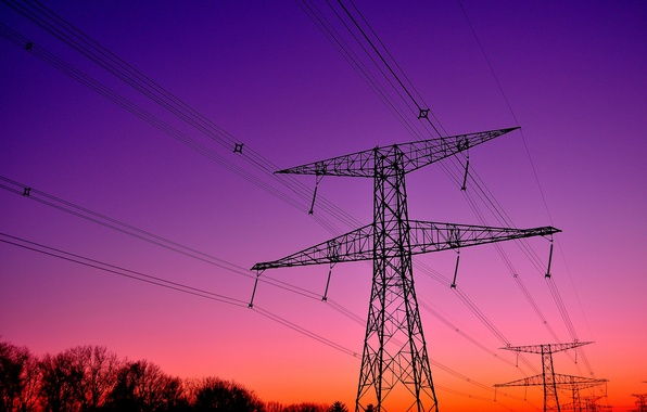 Picture the sky, trees, sunset, wire, silhouette, Power lines, support, glow