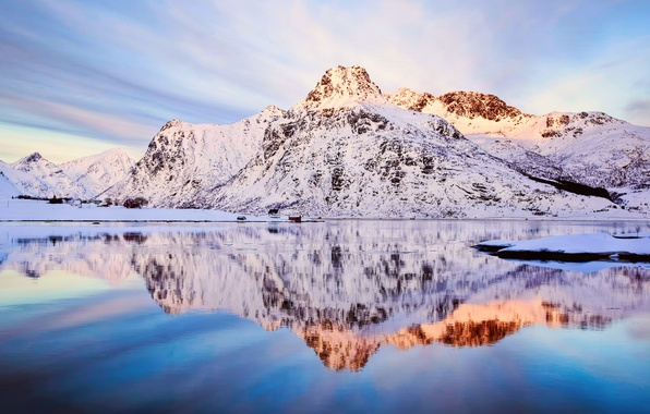 Picture winter, the sky, snow, reflection, mountains, Norway, Flakstadøya Fjord