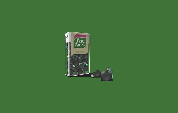 Picture grenades, tick tock, ask mint, tic tac