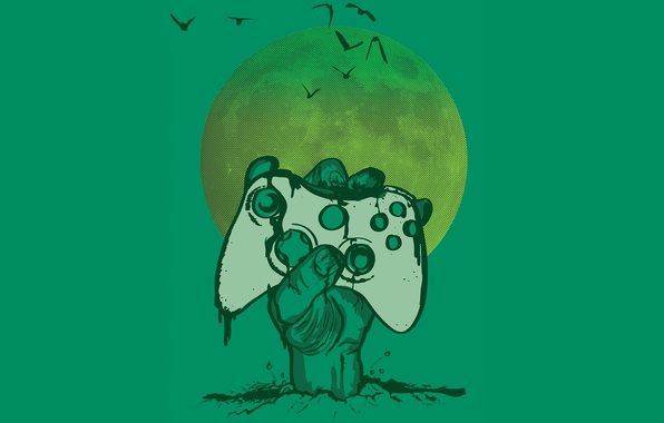 Photo wallpaper the moon, game, the game, moon, zombie, gamer