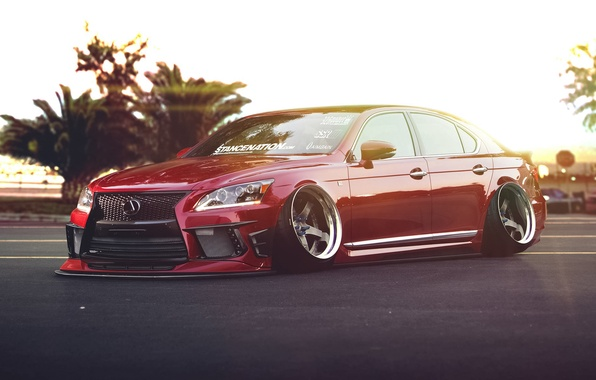 Picture Lexus, Red, Car, Front, Stance, Low, LS 460