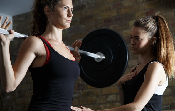 Photo wallpaper women, fitness, gym, weight lifting, personal trainer, weight bar