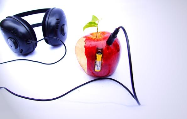Picture Apple, headphones, player, background beatles n apple