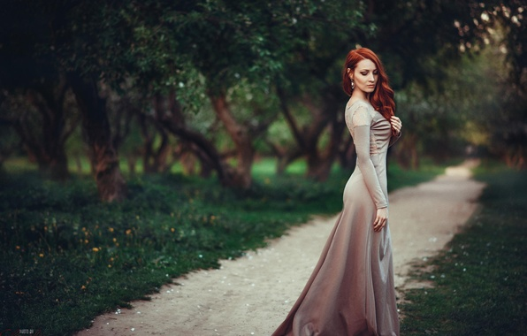 Picture forest, grass, leaves, girl, trees, Park, model, earrings, figure, dress, grace, red, alley, path, chic, …