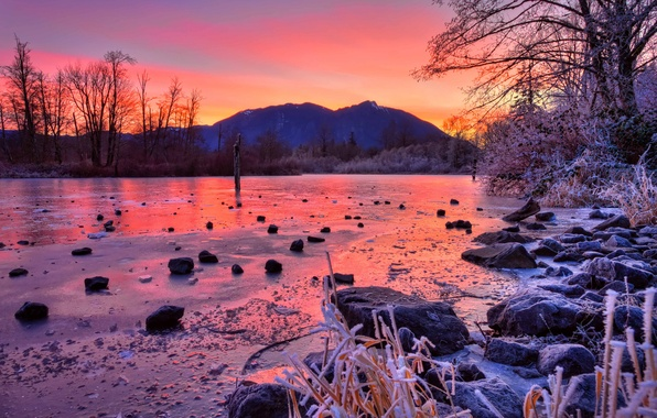 Picture winter, trees, sunset, mountains, river, stones, ice