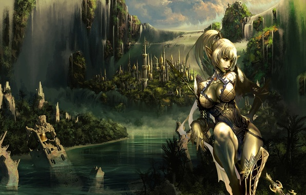 Picture girl, mountains, the city, waterfall, warrior, elf