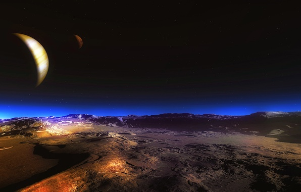 Picture the sky, night, the moon, desert, planet, satellite