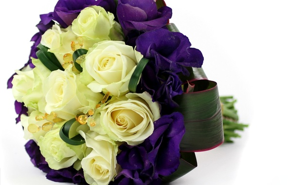 Picture flowers, roses, bouquet, yellow, purple, composition