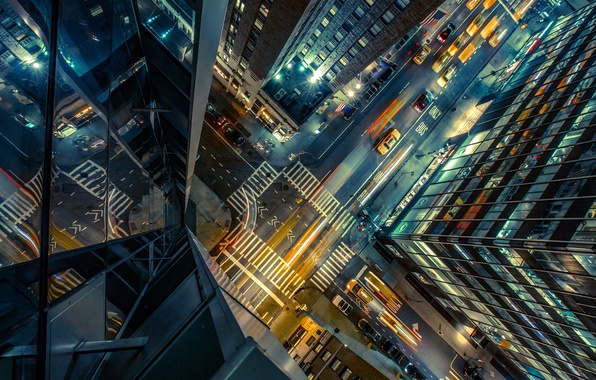Picture road, auto, night, city, the city, lights, street, the building, height, skyscrapers, crossroads, taxi, USA, …