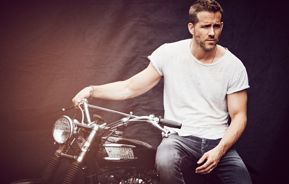 Picture background, jeans, t-shirt, motorcycle, actor, Ryan Reynolds, Ryan Reynolds, journal, photoshoot, InStyle, 2015, Matthew Brookes