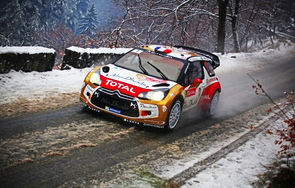 Picture Winter, Snow, Sport, Machine, Citroen, Citroen, DS3, WRC, Rally, Rally, Sebastien Loeb, Total