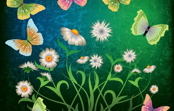 Picture butterfly, flowers, green, abstract, design, flowers, grunge, butterflies