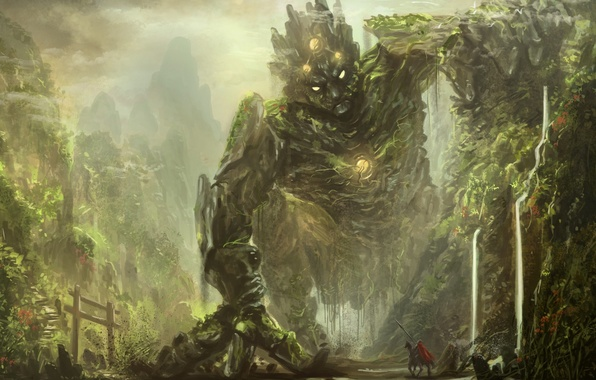 Picture forest, mountains, fiction, rocks, trail, being, fantasy, art, monster, rider, the ravine, knight, traveler, hollow, …