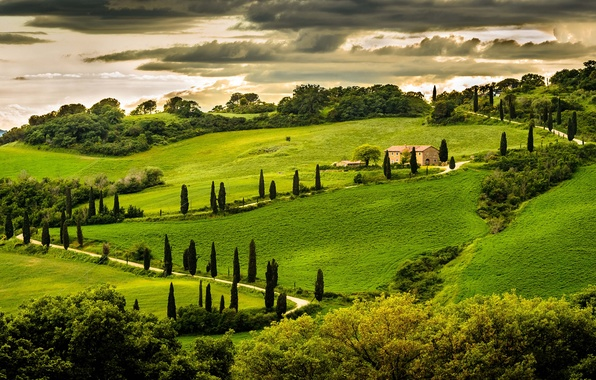 Picture greens, the sky, clouds, trees, landscape, nature, house, hill, Italy, Italy, Italia, Umbria, Umbria