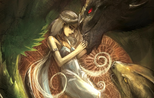 Picture girl, dragons, A song of Ice and Fire, Daenerys Targaryen, Mother of Dragons, A Song …