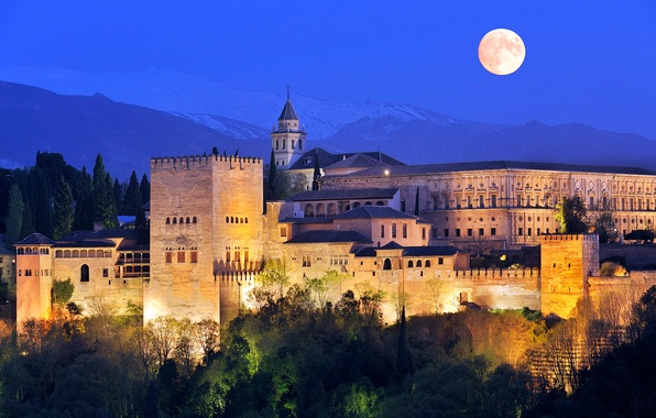 Picture the sky, mountains, night, lights, castle, the moon, tower, fortress
