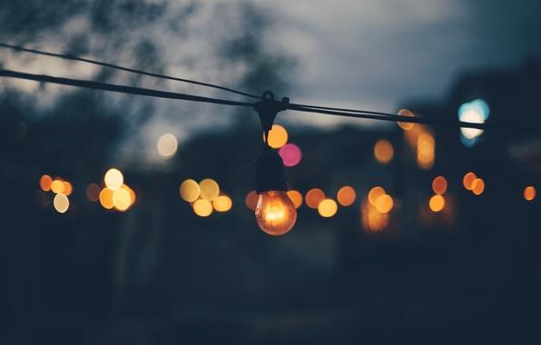 Picture light bulb, light, lights, the evening, bokeh